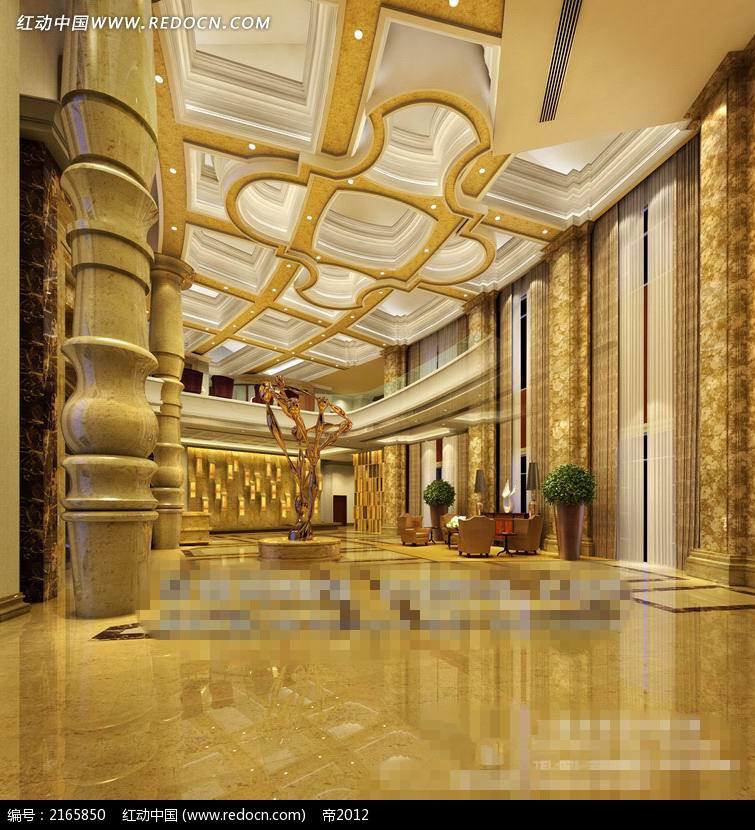 宫殿酒店大厅设计效果图图片
