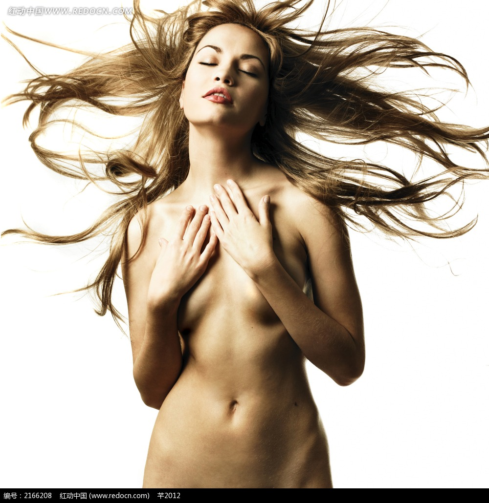 闭着双眼的裸体美女摄影图片