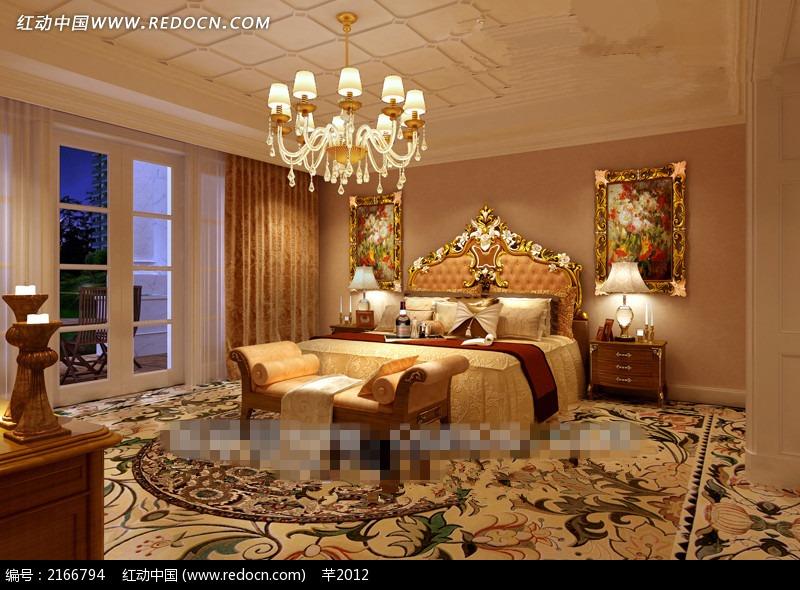 欧式卧室双人床陈设效果图