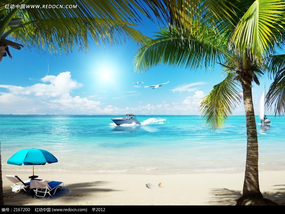 大海沙滩和椰树无框画图片免费下载 编号2167200 红动网
