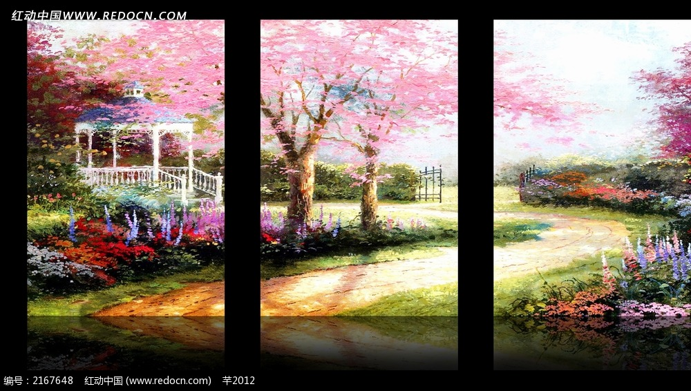 樱花树室内装饰无框画