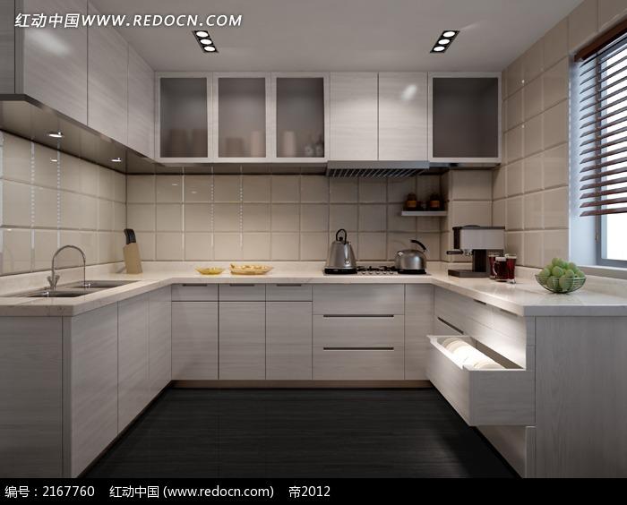 现代风格u型厨房效果图