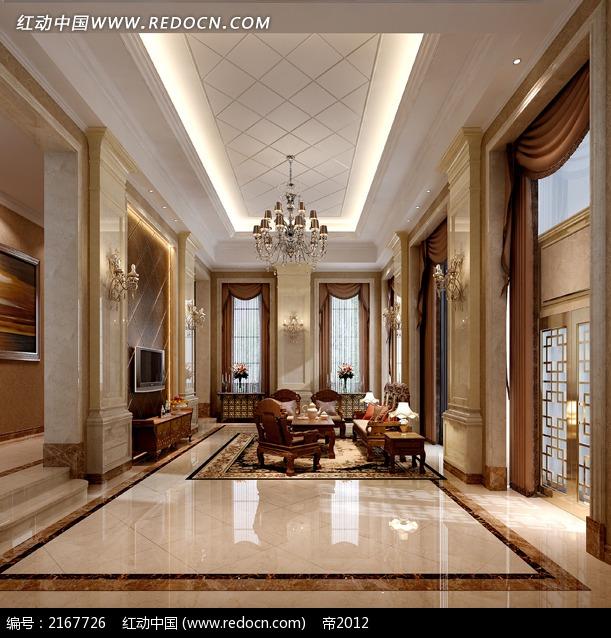 石材装饰欧式客厅效果图片3dmax免费下载_室内设计素材