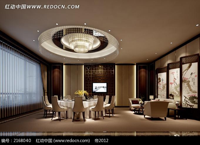 中式风格 酒店餐厅 餐厅包间 装修设计图片 效果图片 灯具 吊顶造型