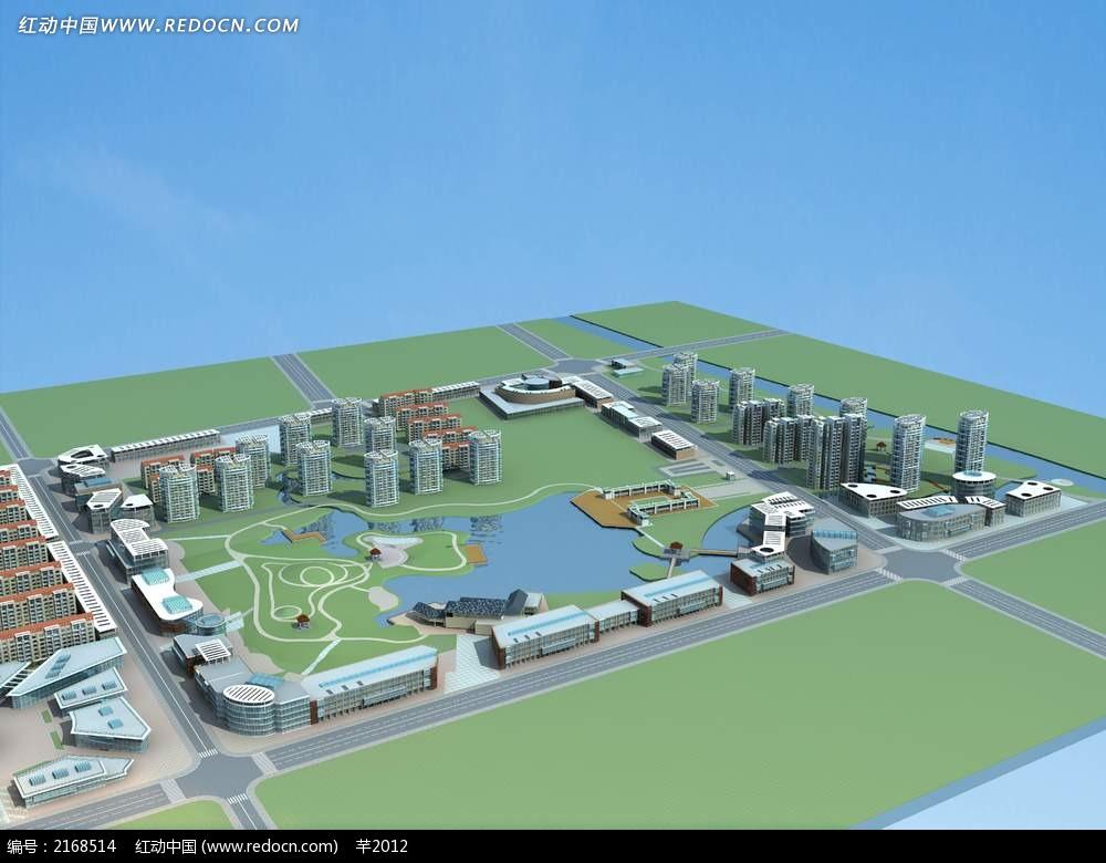 建筑园林绿化设计鸟瞰图片