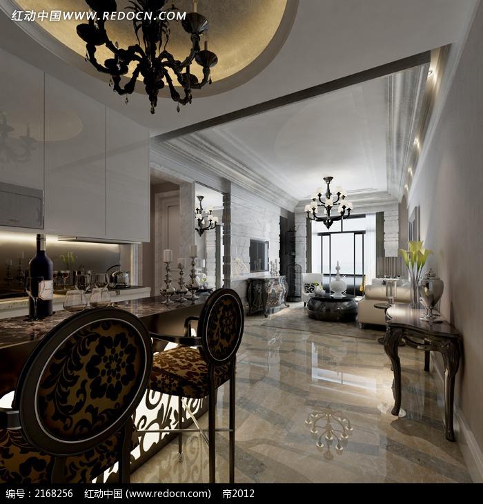 欧式明亮风格客厅餐厅效果图