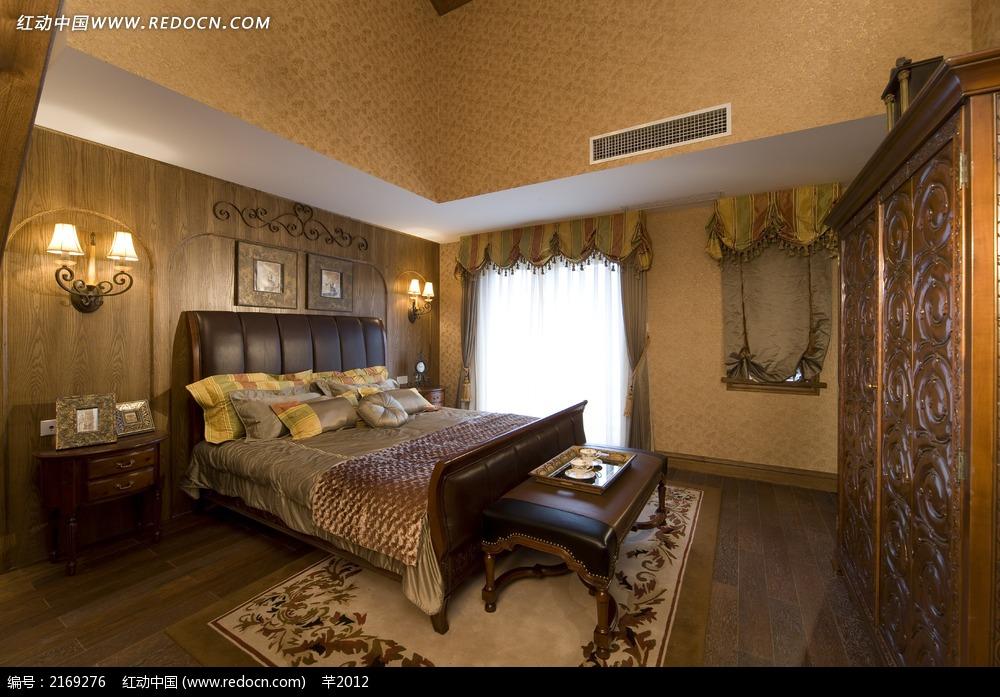 复古双人床卧室设计图