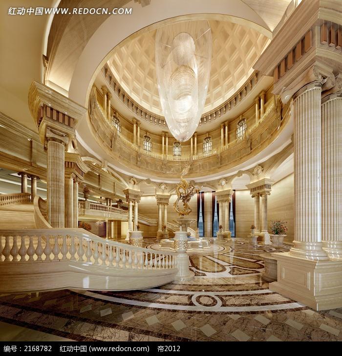 欧式宫殿装饰酒店大厅效果图3dmax免费下载_室内设计图片