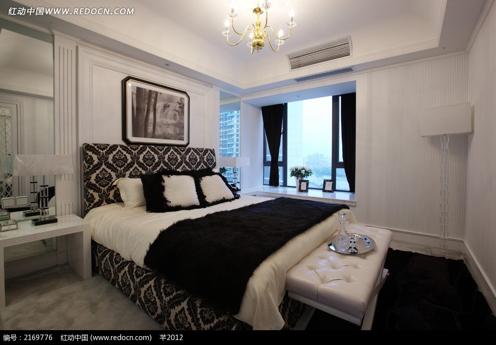 欧式卧室双人床设计图