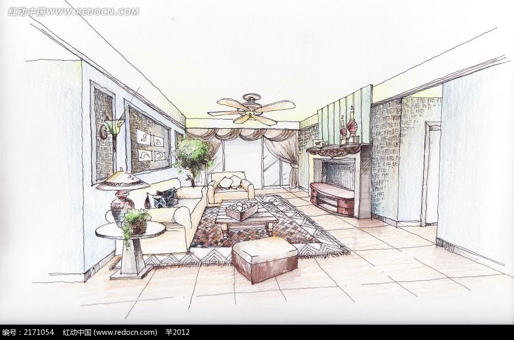 手绘欧式客厅图片_室内设计图片
