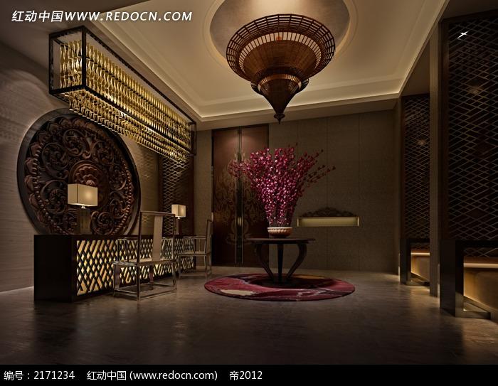 中式风格接待厅效果图max3dmax免费下载_室内设计素材图片