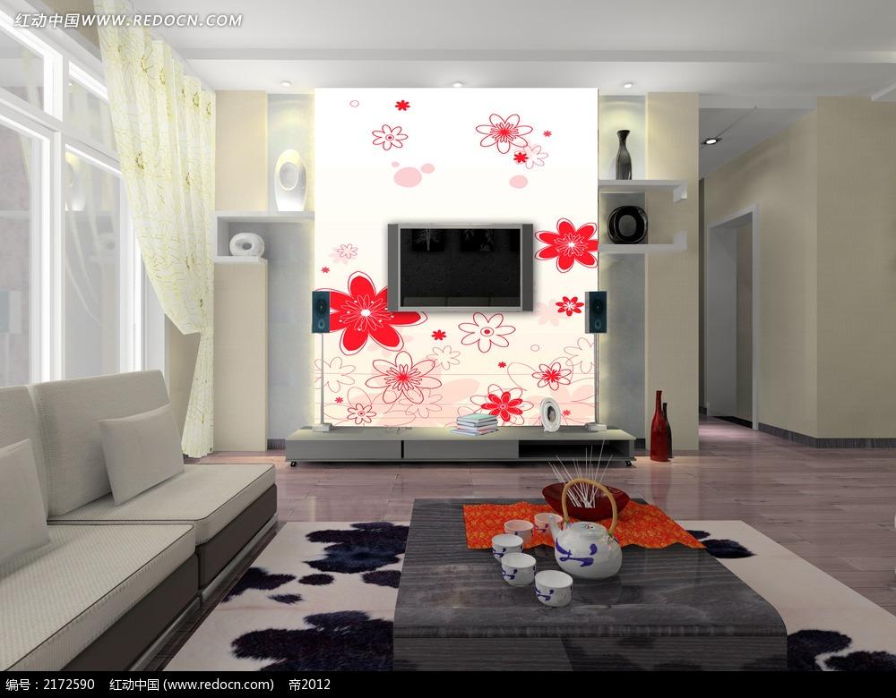 红色花朵客厅背景墙