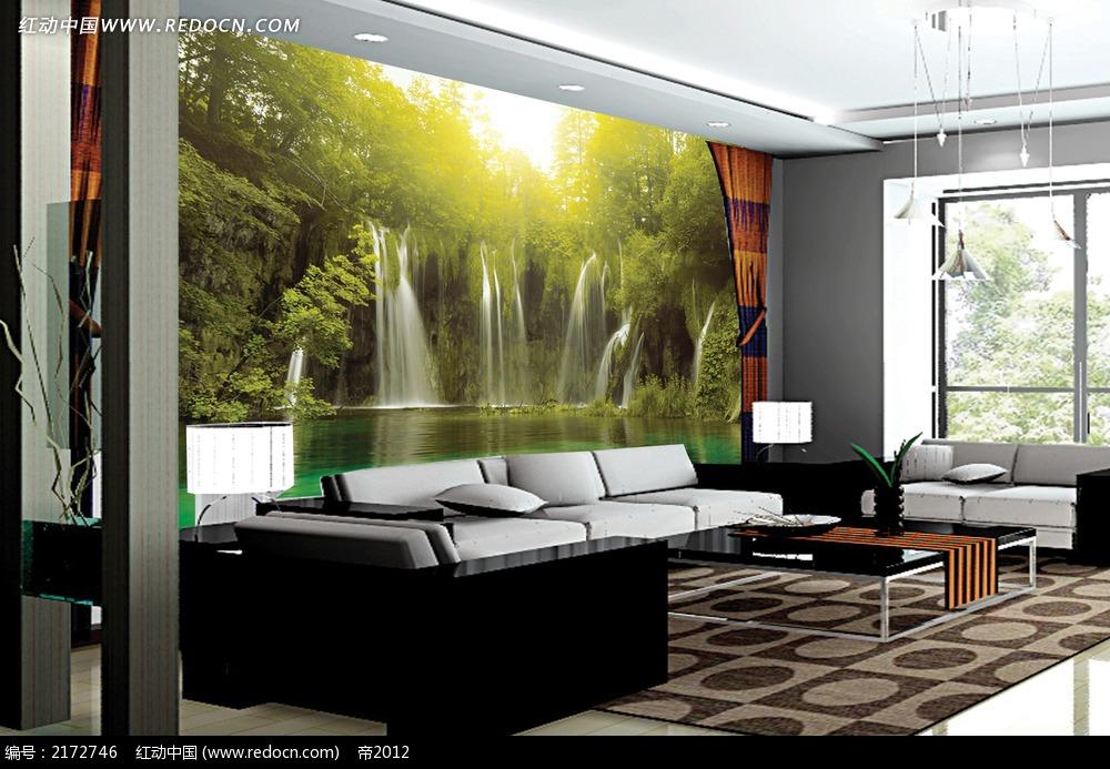 树木和瀑布沙发背景墙图片