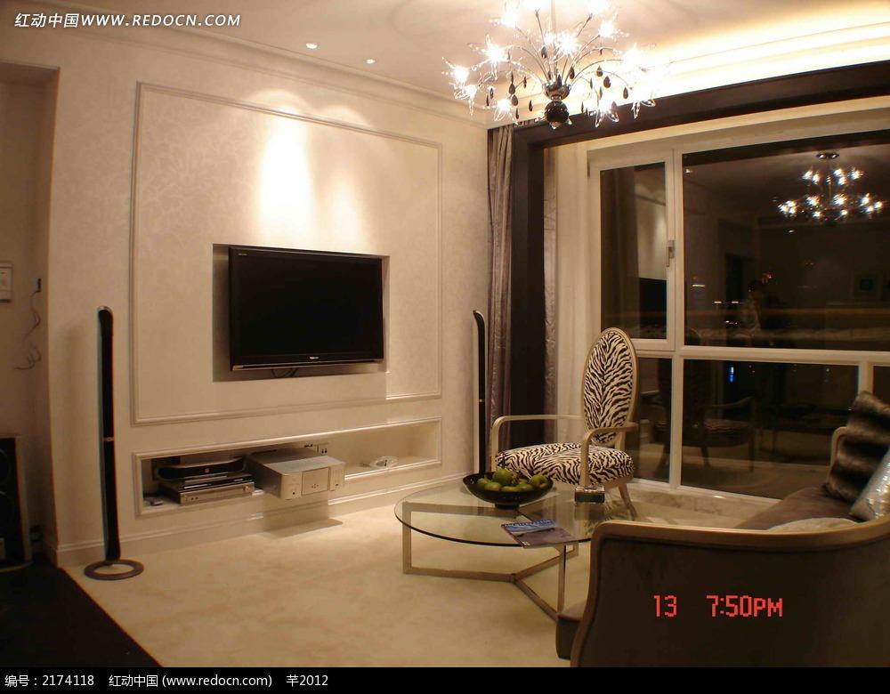 简约的中式客厅电视背景墙设计_室内设计图片_红动