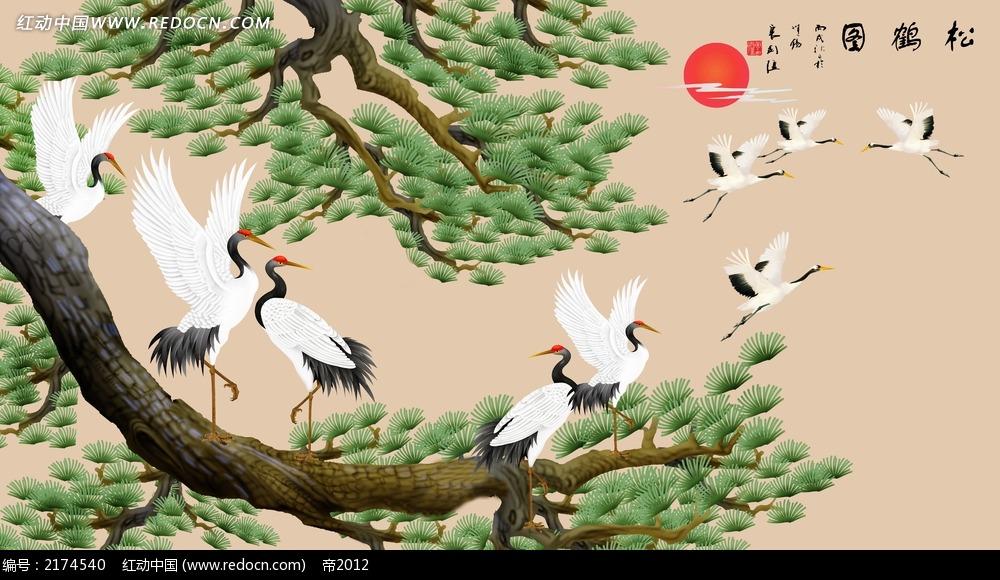 松树和白鹤客厅背景墙图片