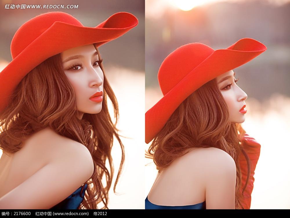 红帽子美女写真摄影图片 新人情侣图片