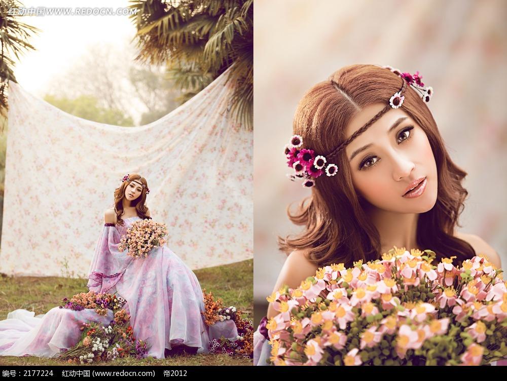 花朵和图片的文章骑美女婚纱摄影新人_情侣图片美女图片