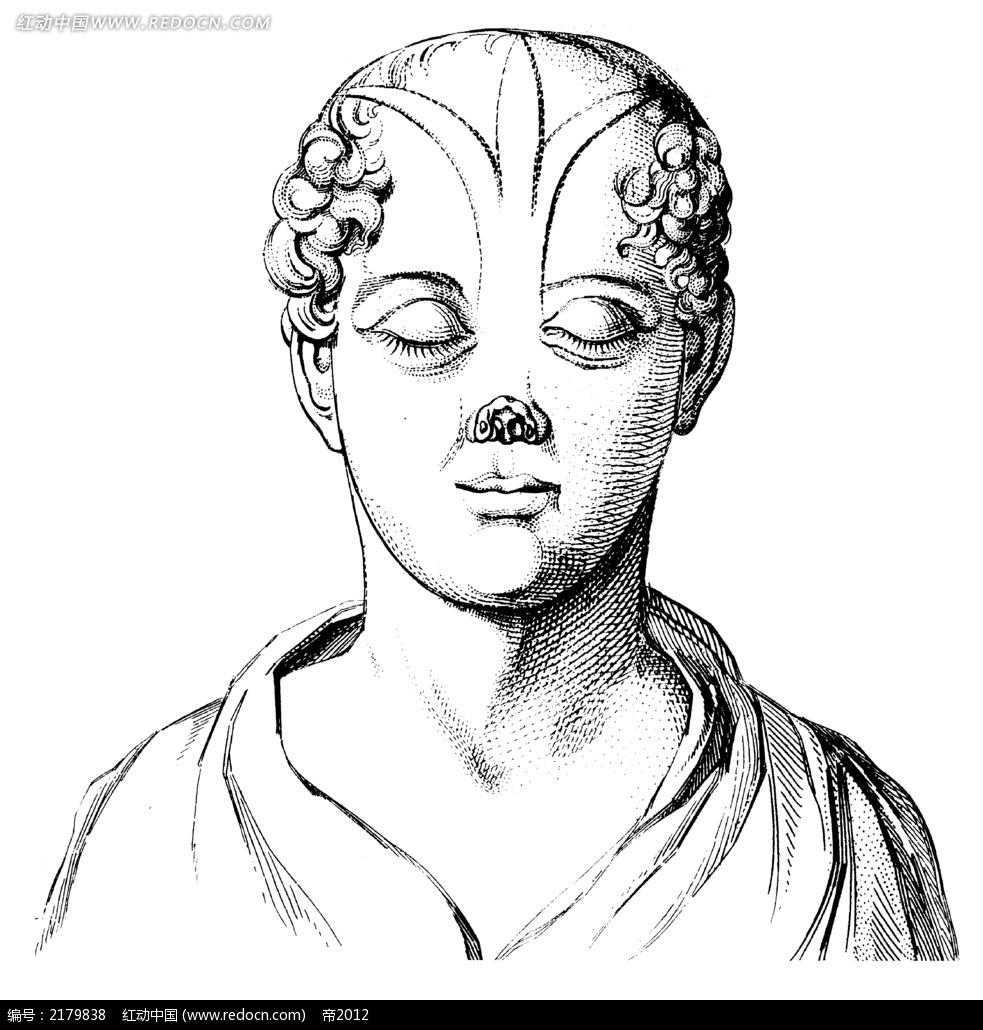 人物正面脸部插图