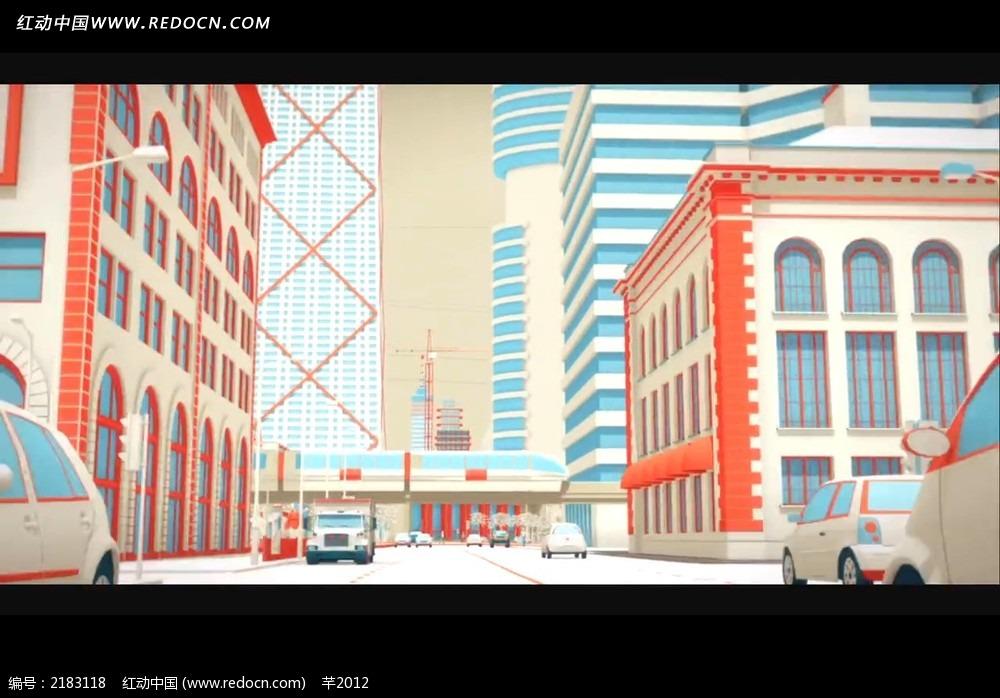 彩色建筑汽车动画视频