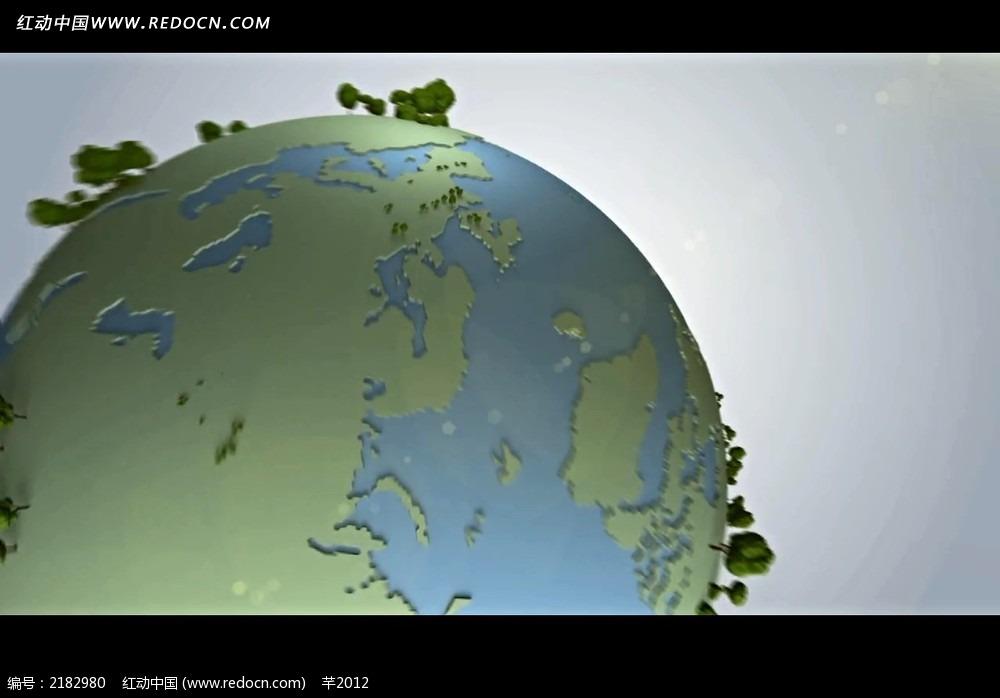 立体树木地球背景视频