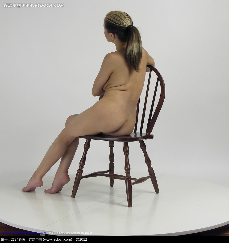 女人裸体坐姿背面左侧摄影图片jpg图片