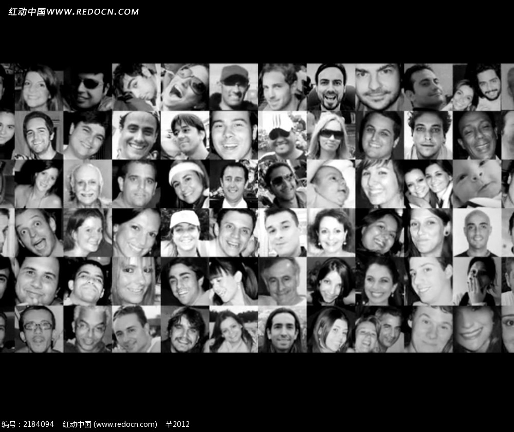 黑白人物微笑头像照片墙视频