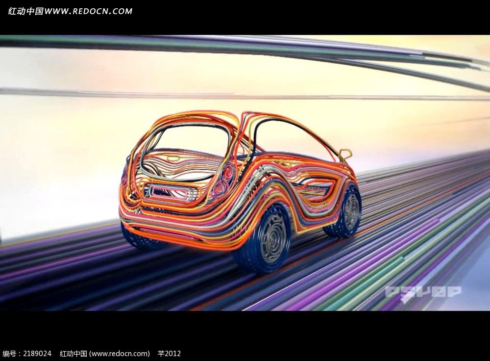 彩色线条汽车行驶广告视频