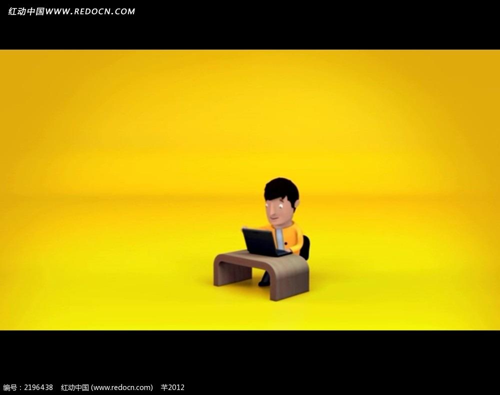 卡通3d职场人物动画视频