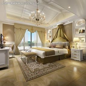 田园欧式风格卧室装修效果图片
