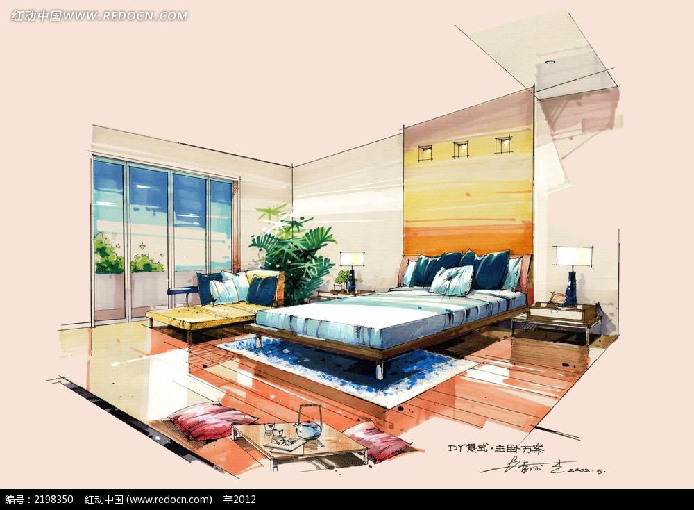 海洋风格卧室手绘效果图图片