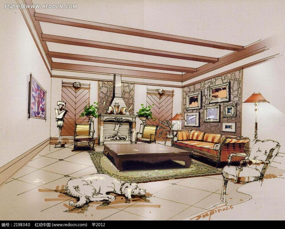 欧式客厅手绘效果图图片