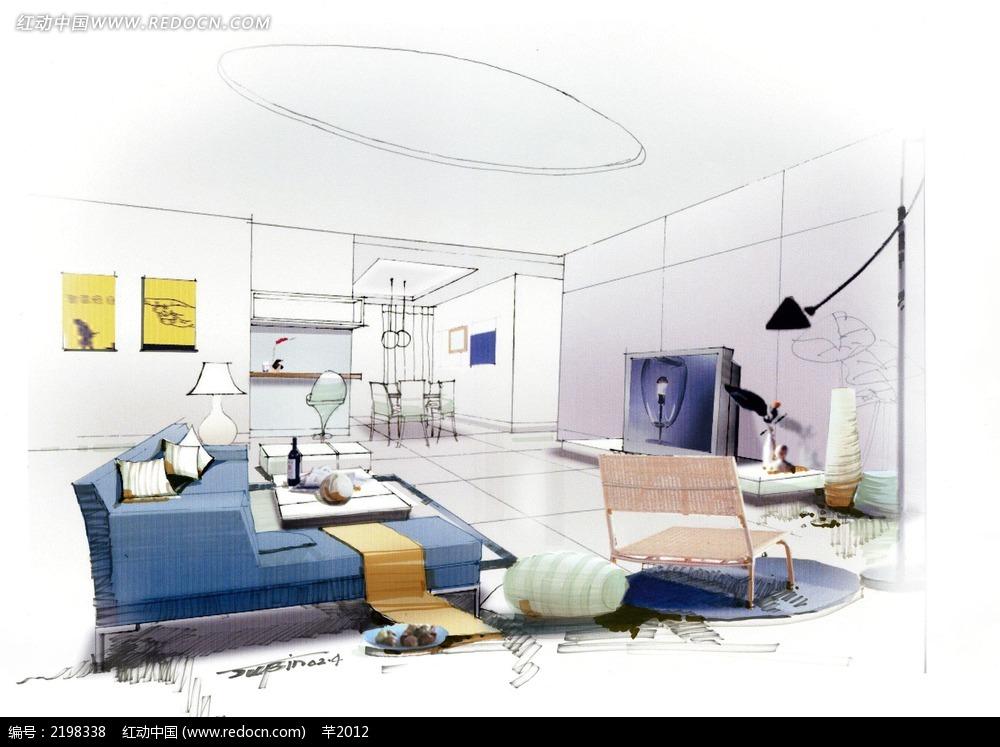 简洁蓝色客厅手绘效果图