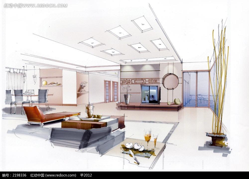 高档客厅手绘效果图