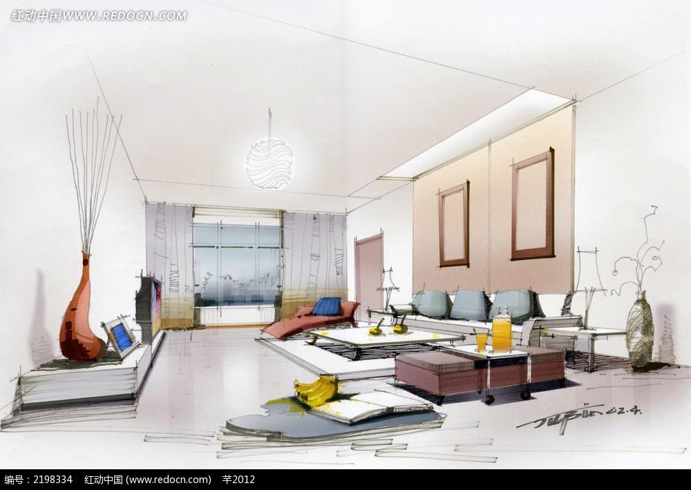 现代客厅手绘效果图_活动场景图片_红动手机版