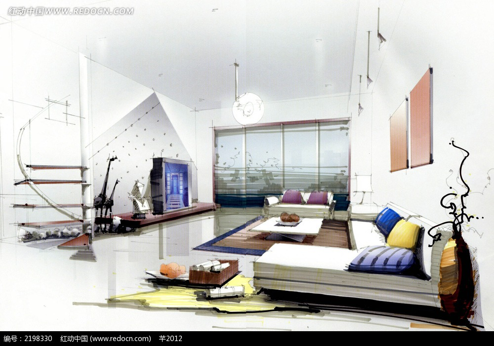 复合客厅手绘效果图图片免费下载_红动网