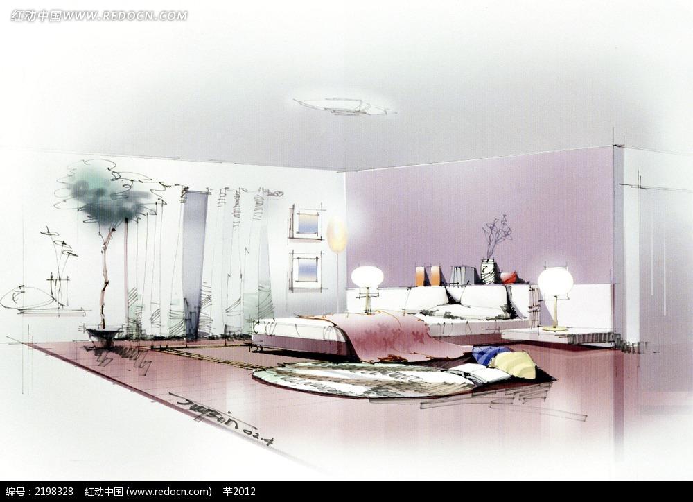 白色卧室手绘效果图