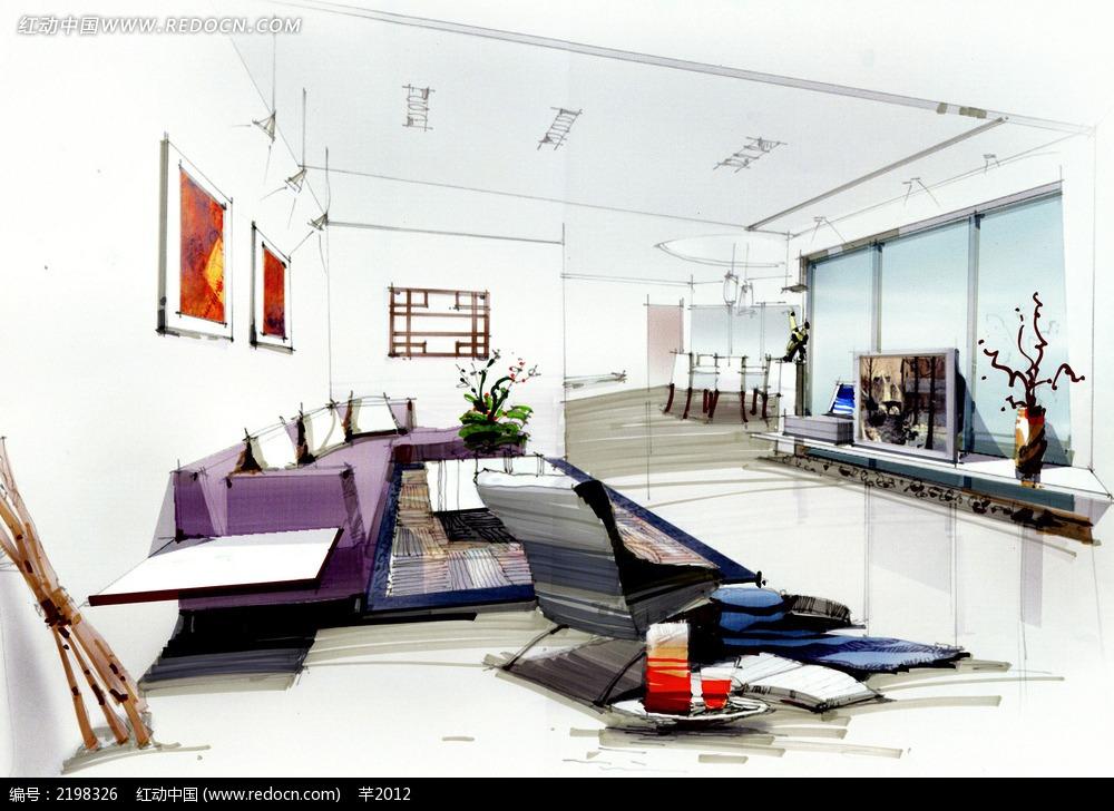 白色客厅手绘效果图