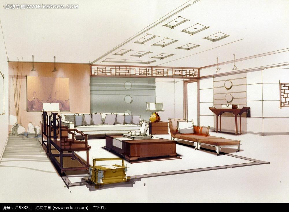 古典风格客厅手绘效果图