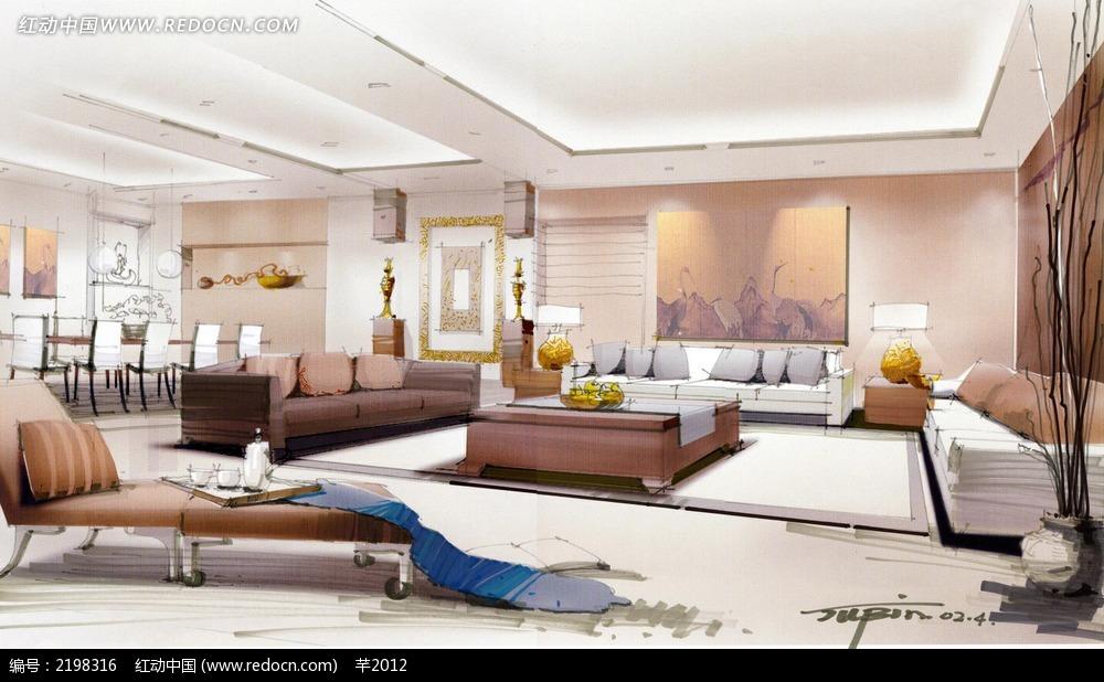 现代客厅手绘效果图_活动场景图片