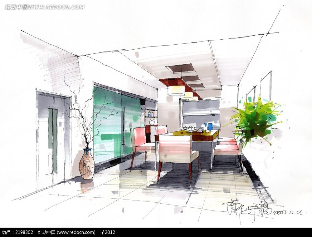 餐厅手绘效果图图片