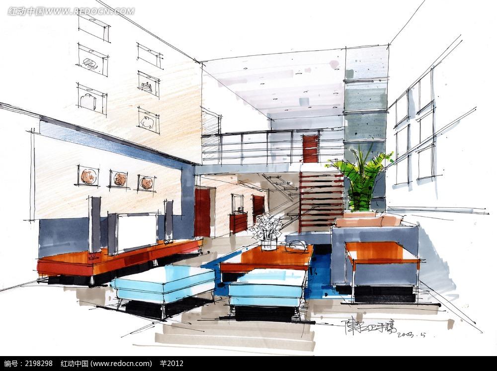手绘室内水彩画房屋效果图图片免费下载 编号2198298 红动网