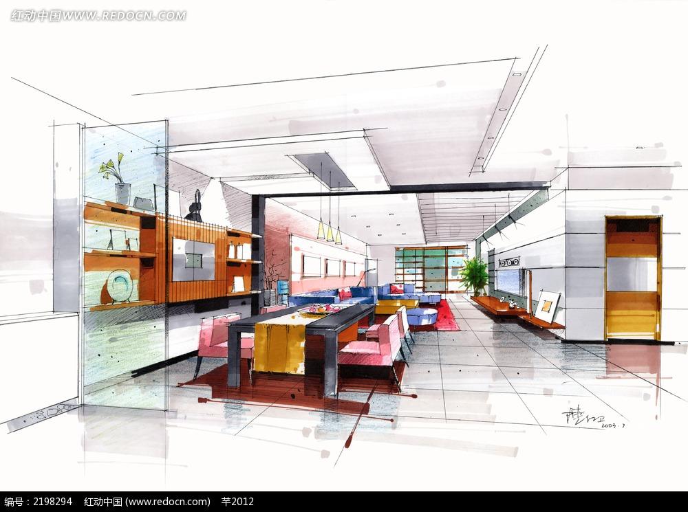 餐厅客厅手绘效果图