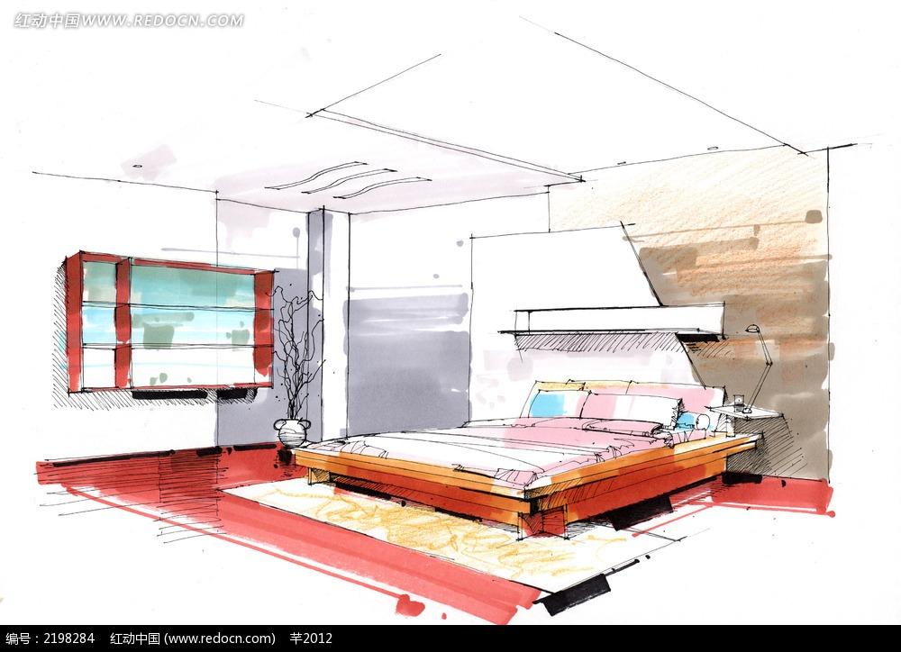 简洁现代卧室手绘效果图