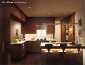 实木开放式厨房餐厅模型图