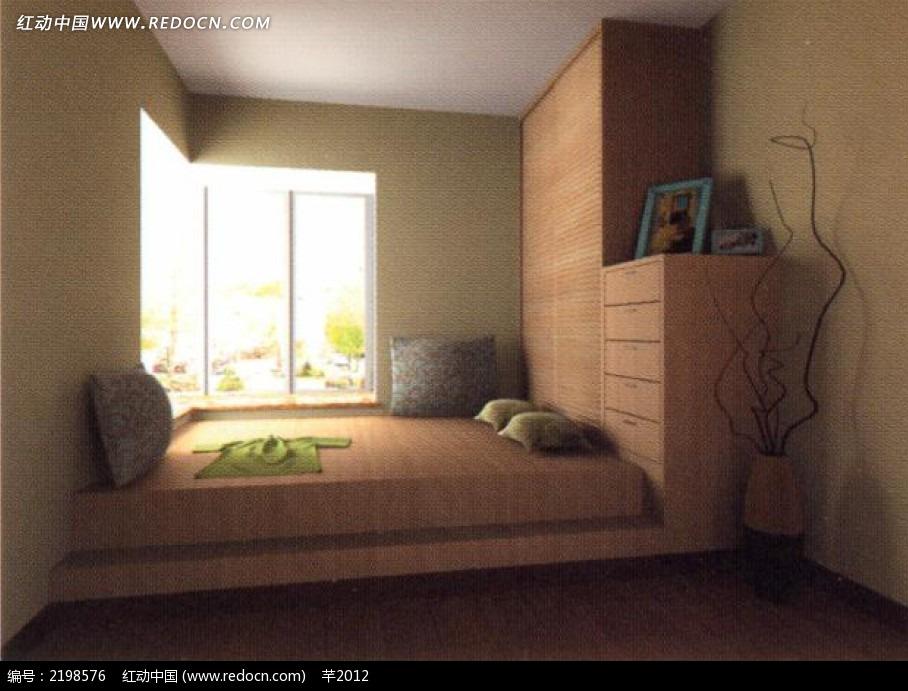 榻榻米卧室效果图