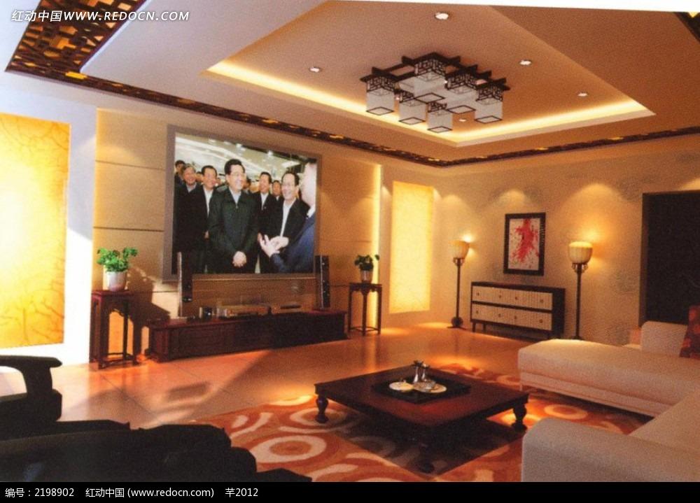 投影电视客厅背景墙效果图