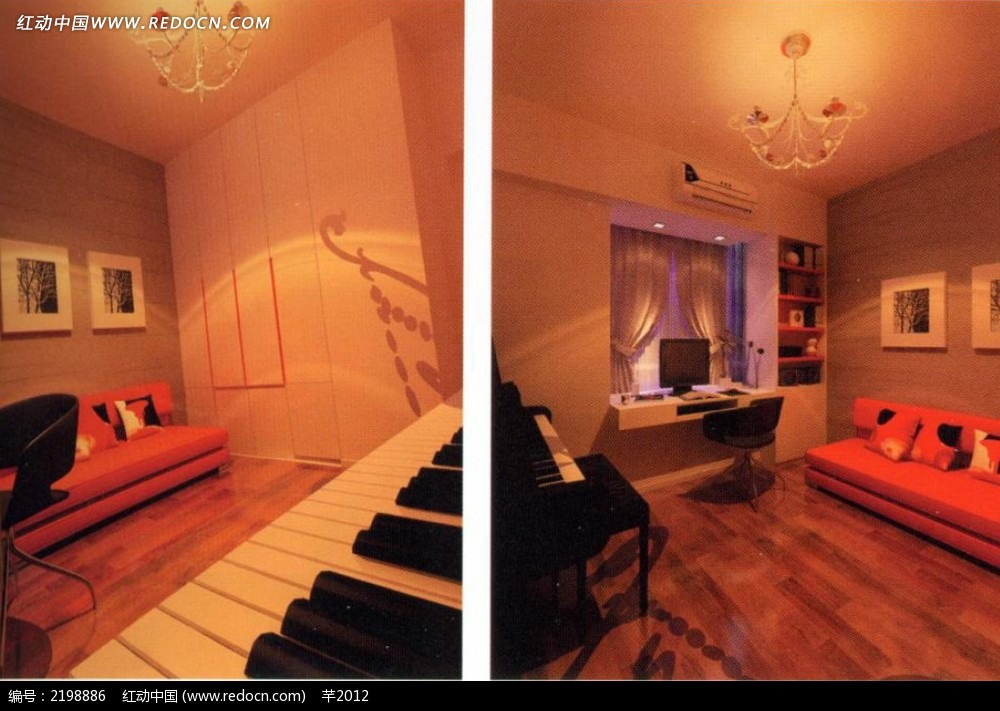 钢琴书桌室内效果图