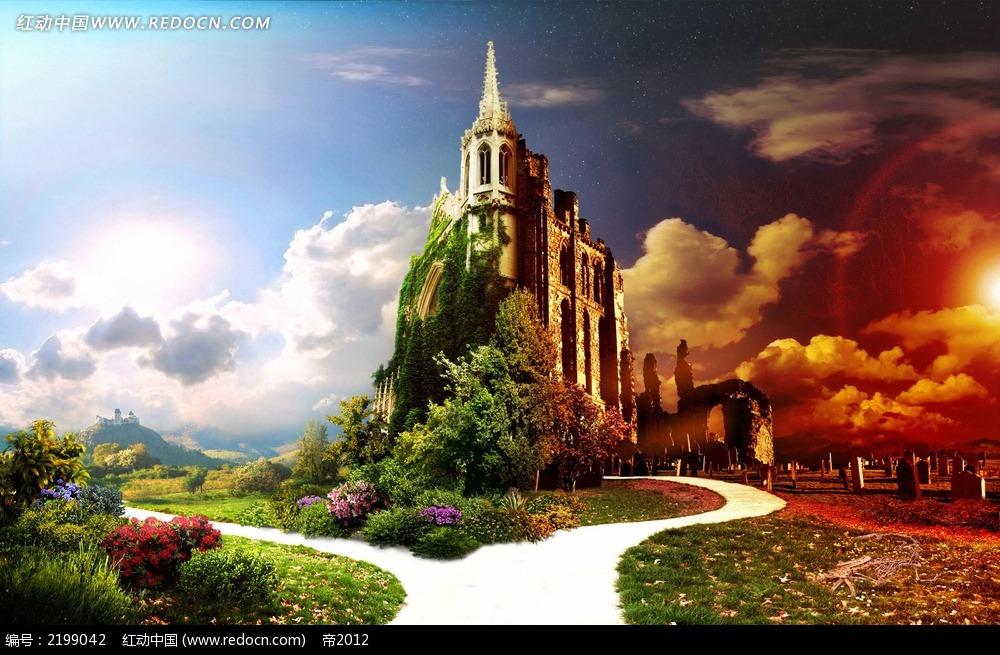城堡和树木背景素材图片
