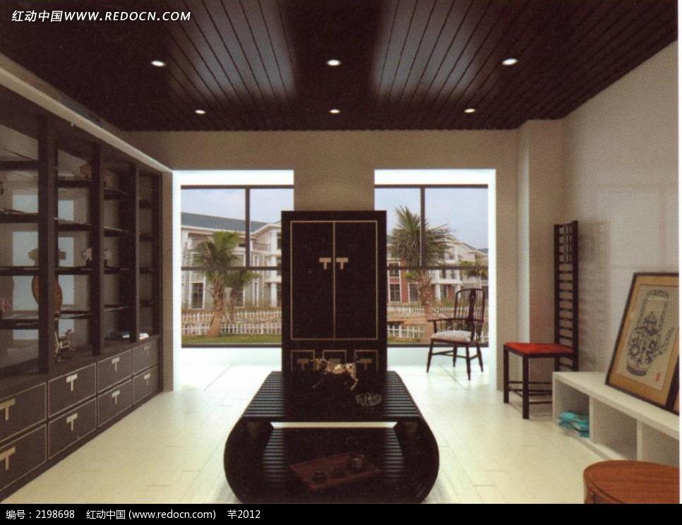 中式木质展柜效果图图片