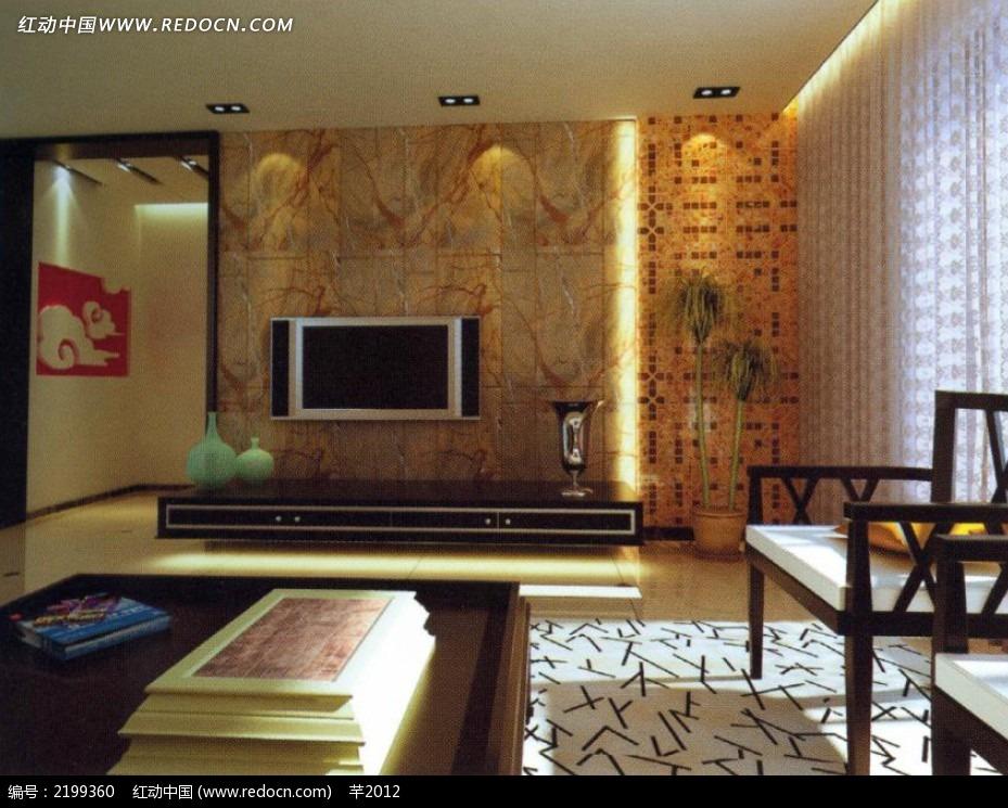 现代中式电视墙造型设计
